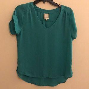Teal blouse short sleeve